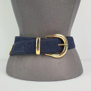 Vintage Navy & Gold Leather Belt Size M